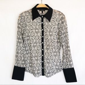 90s Bebe Floral Lace Button-Up